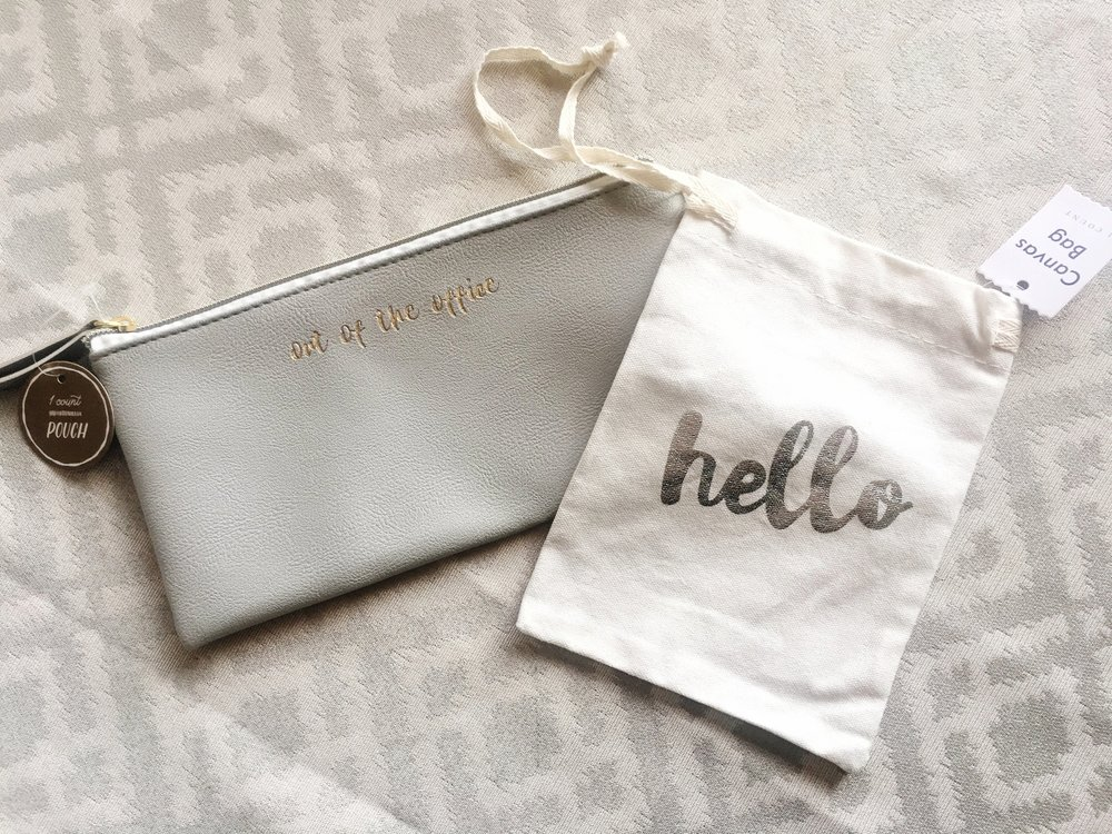 """Out of the Office"" Gold & Grey Zippered Pouch, $3 --  Hello Canvas Drawstring Bag, $1"