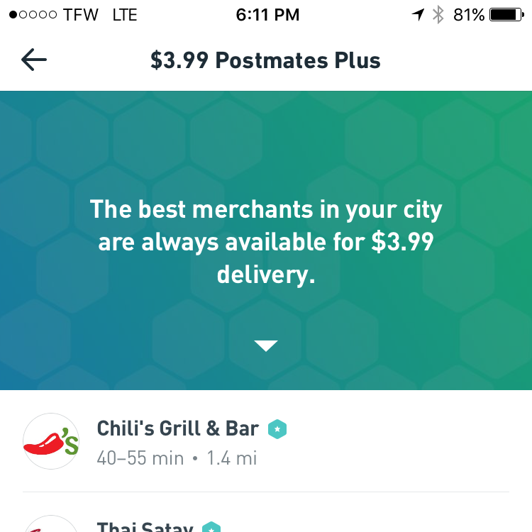 postmates screen