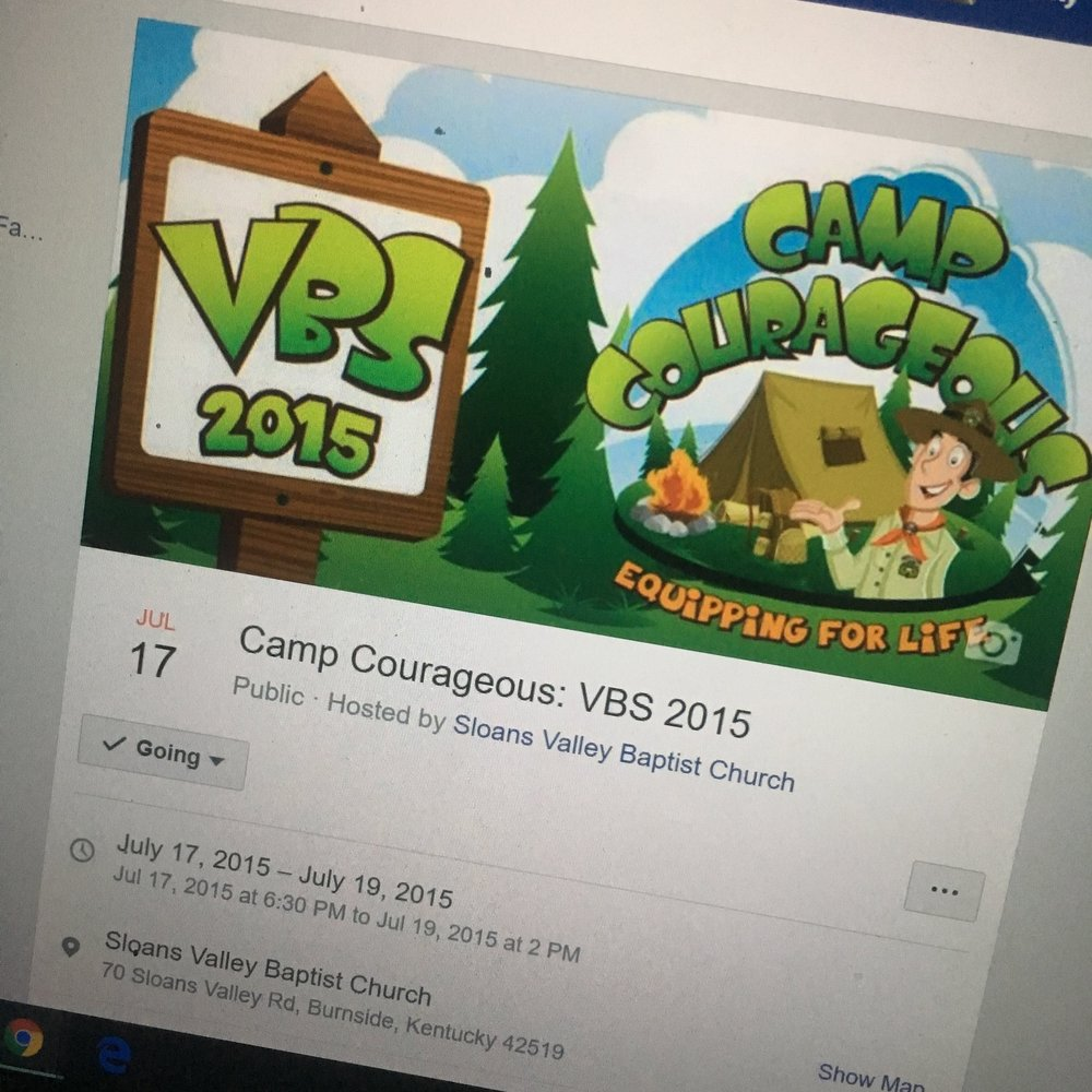 Example of an event invitation on Facebook, created for our church's VBS in 2015.