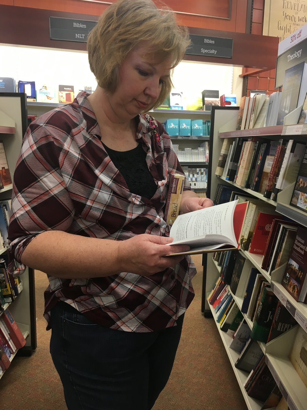 My pretty Mama, perusing some books at LIfeway.