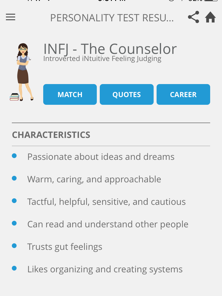 A few general characteristics of an INFJ personality type.