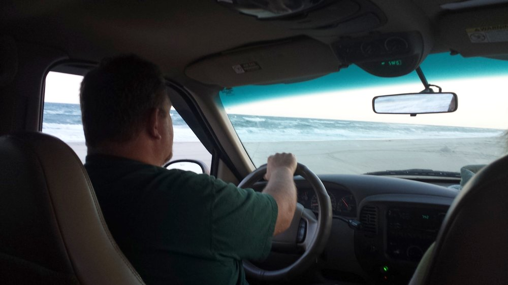My Dad beach driving, near the end of Hatteras Island, 2014.
