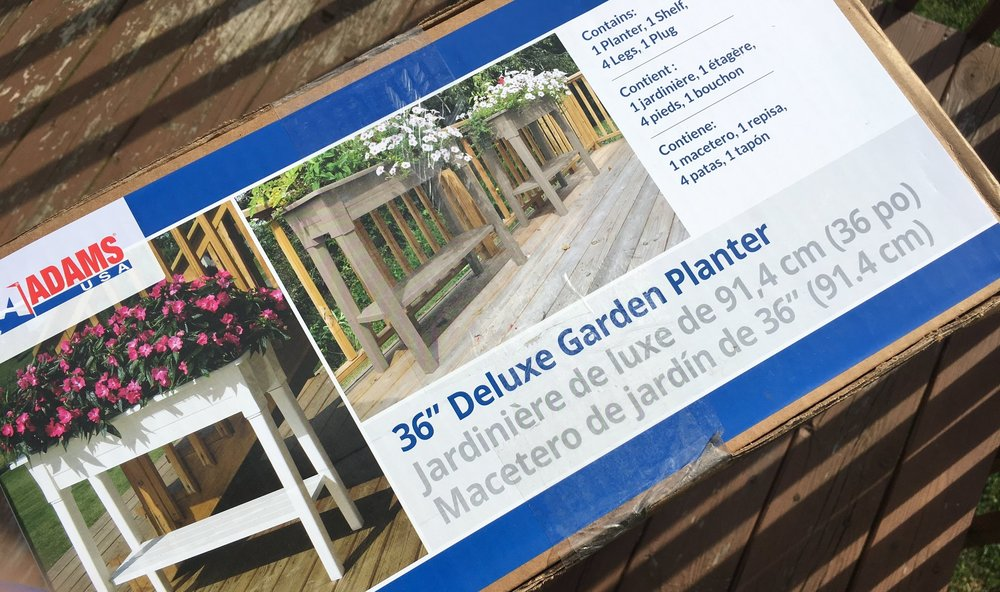 """Adams USA 36"""" Deluxe Garden Planter. Please forgive our poor deck, it needs re-stained terribly!"""