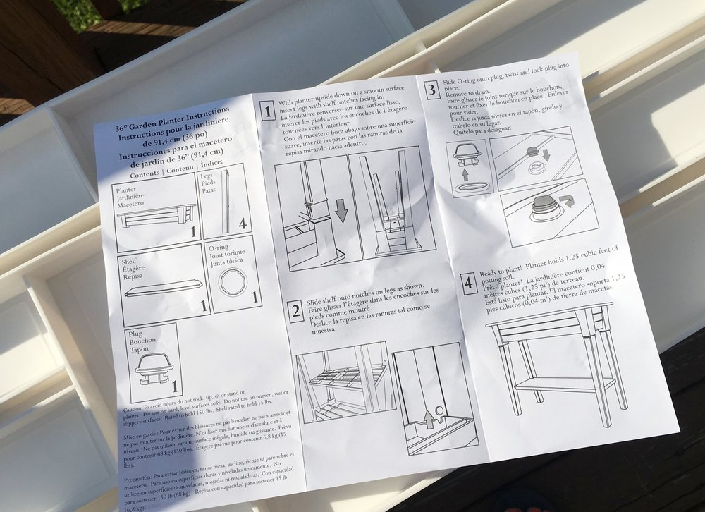 Instructions for planter assembly. Easy peasy lemon squeezy!
