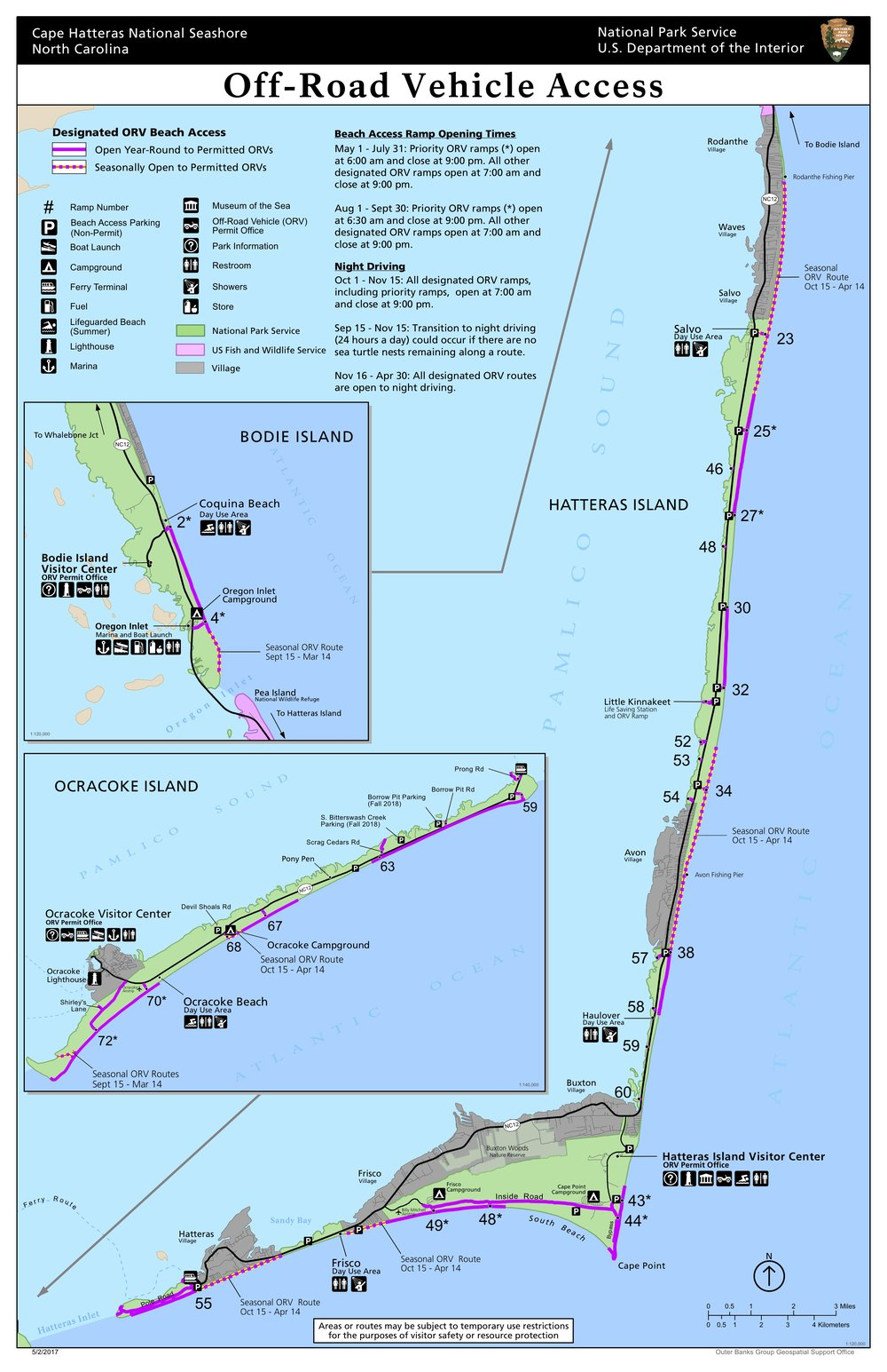 Designated beach access areas across Cape Hatteras National Seashore - National Park Service
