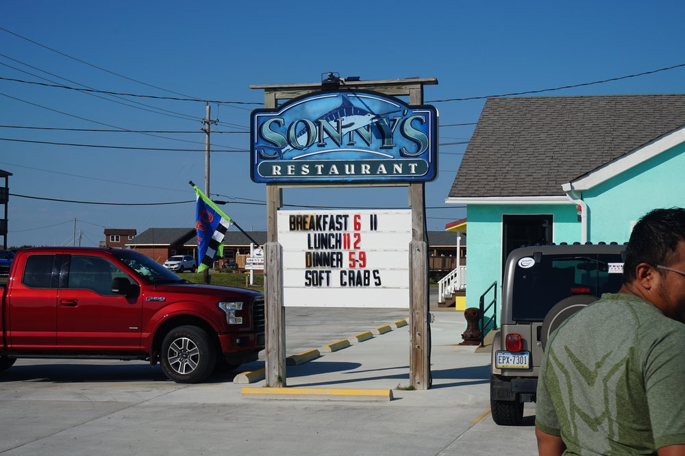 The sign in front of Sonny's, right off Hwy 12 in Hatteras Village.