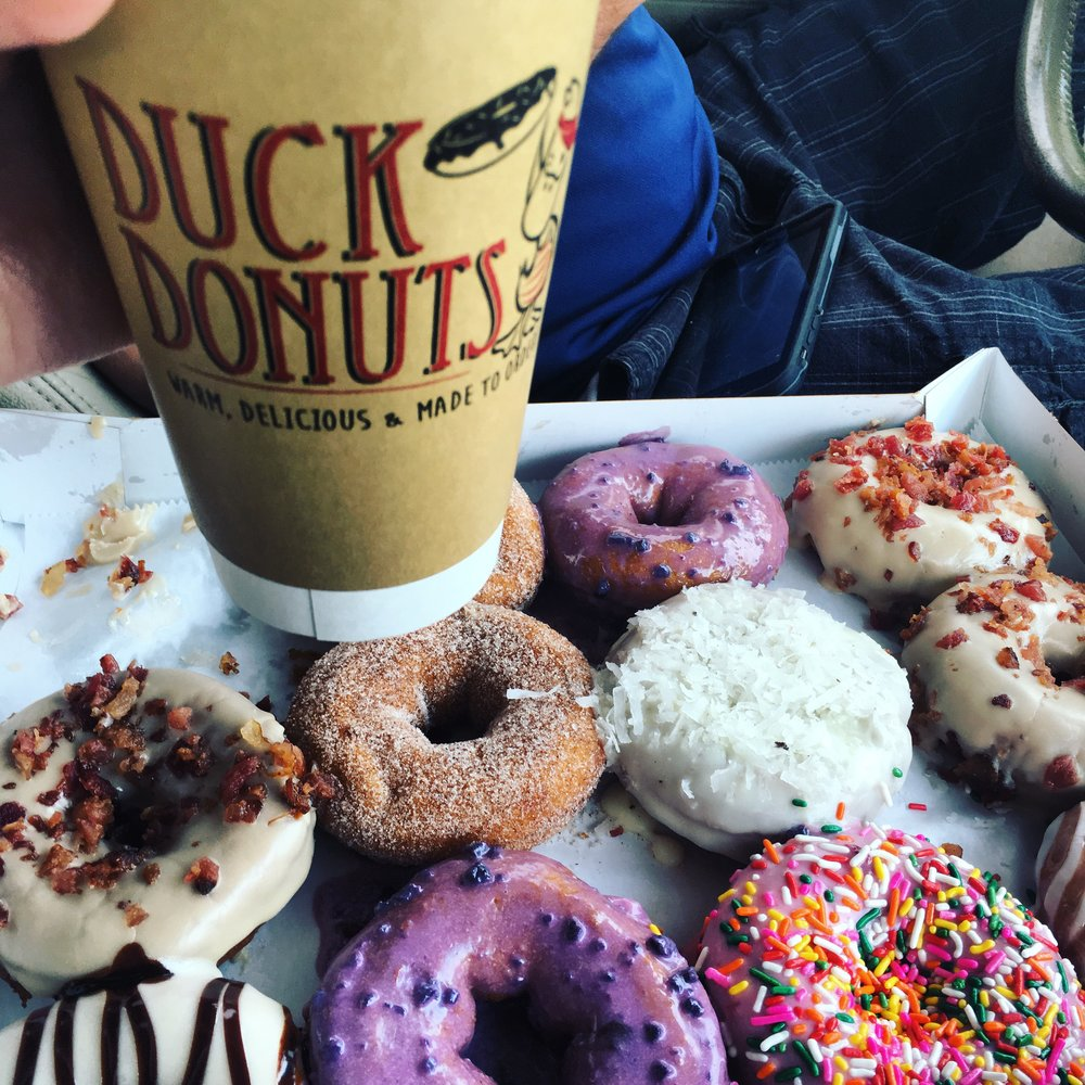 Living the high life - dark roast coffee and all that donut deliciousness!