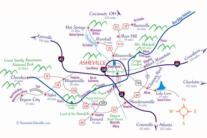 Map from romanticasheville.com