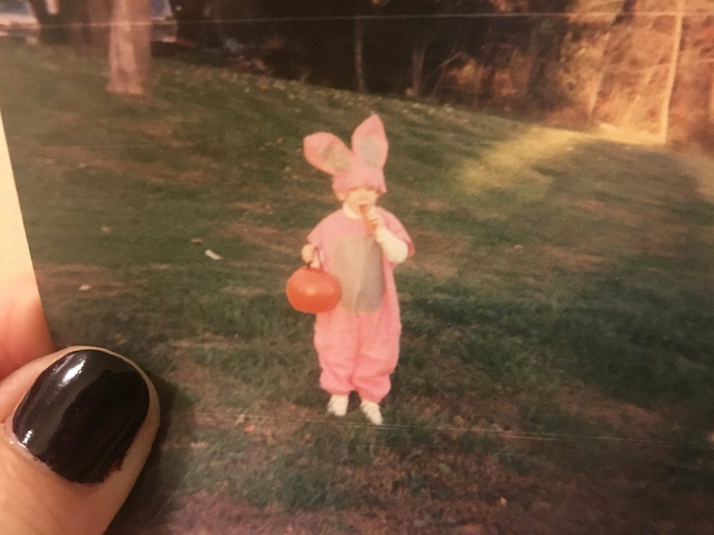 Me in my innocent youth, dressed as an incredibly adorable bunny that I'm pretty sure my Mamaw made for me! I'm proud to say, all of my costumes were homemade throughout the years! [but not quite this elaborate! lol]