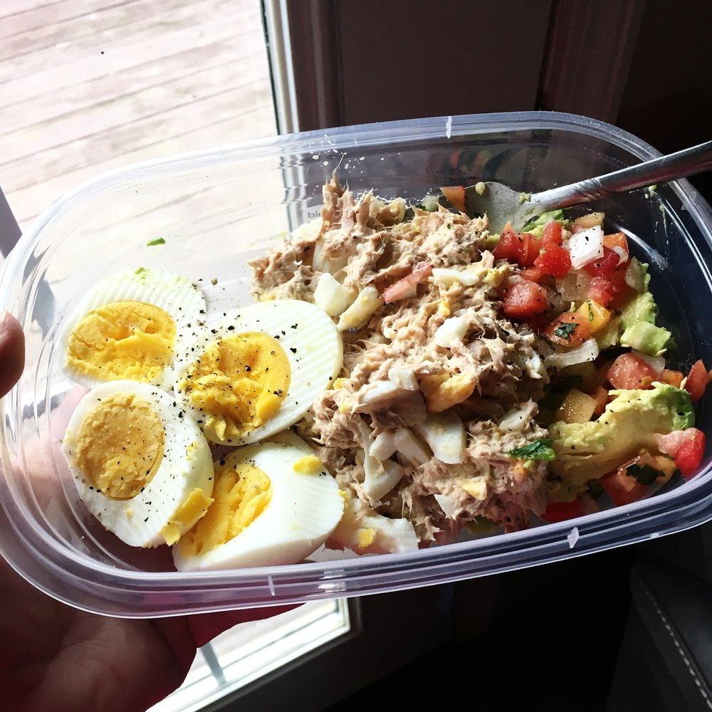 Lunch - 2 eggs, tuna with paleo mayo & egg, small avocado & pico de gallo. This was yum!