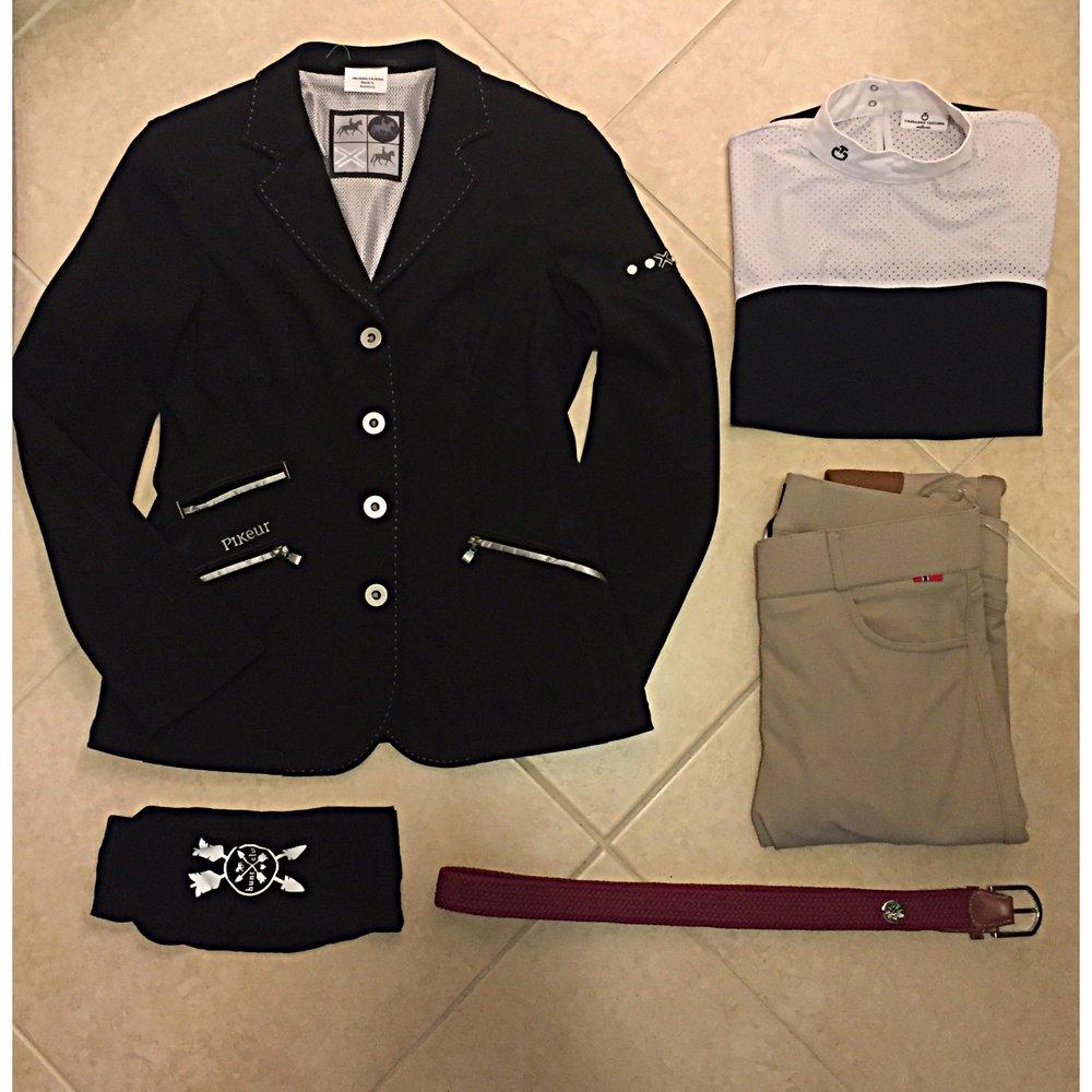 Shown: Pikeur Show Coat, Cavalleria Toscana Show Shirt, B Vertigo Breeches, Hunt Club Logo Socks, Hunt Club Derby Belt.