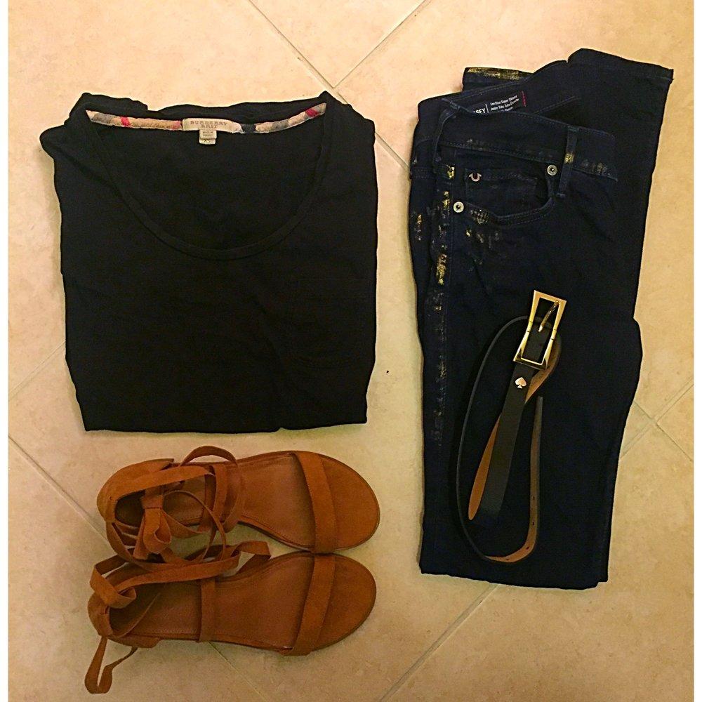 Shown: B urberry T-Shirt ,  True Religion jeans , Kate Spade belt, Forever 21 sandals.