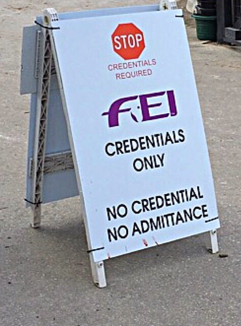 "FEI is very strict about who goes in and out of this stabling area- This is in an effort to prevent any unwanted or illegal ""horseplay."""