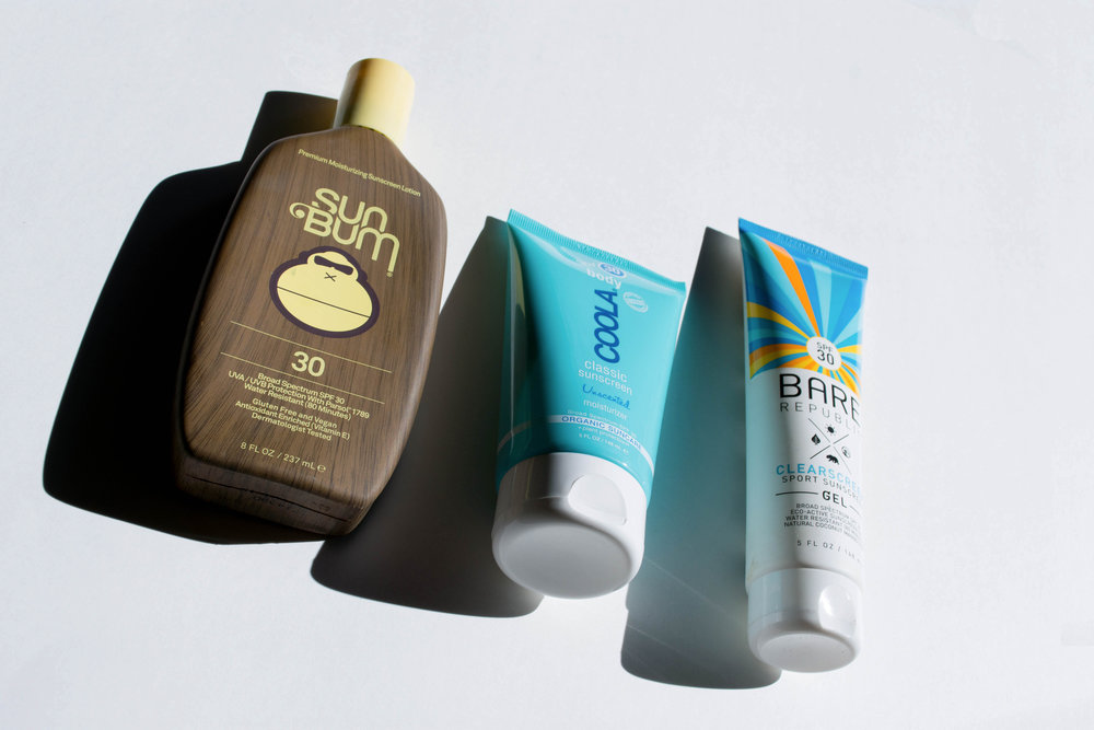 Body sunscreens coming 'atcha! Left to right, Sun Bum's Original SPF 30 Lotion, COOLA's SPF 30 Unscented Moisturizer, Bare Republic's ClearScreen SPF 30 Sport Gel