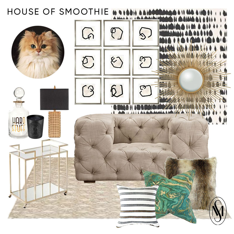 decanter | candle | lamp | bar cart | rug | chair | striped pillow | marble pillow | fur pillow | wallpaper | artwork | mirror