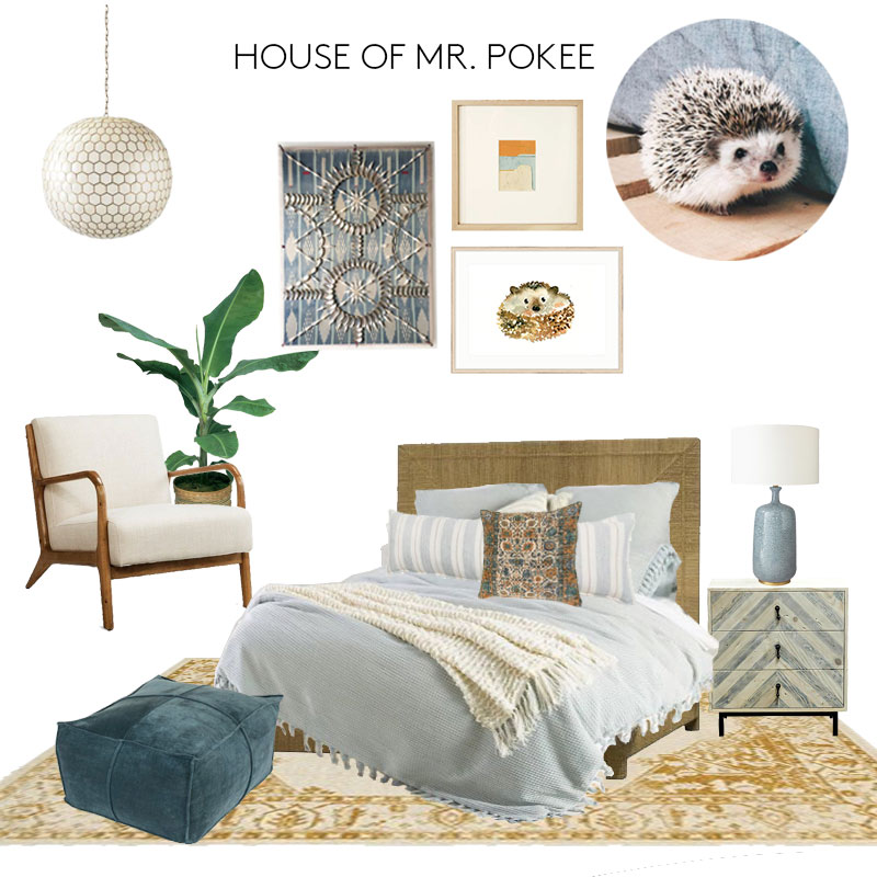 light  I  chair  I  rug  I  pouf  I  bed  I  bedding  I  lumbar pillow  I  square pillow  I  nightstand  I  lamp  I  wall art  I  hedgehog print  I  colorblock art