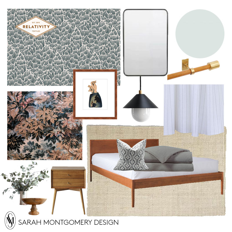 Bed  I  Pendant  I  Duvet  I  Pillow  I  Nightstand  I  Hardware  I  Mirror  I  Rug  I  Wallpaper