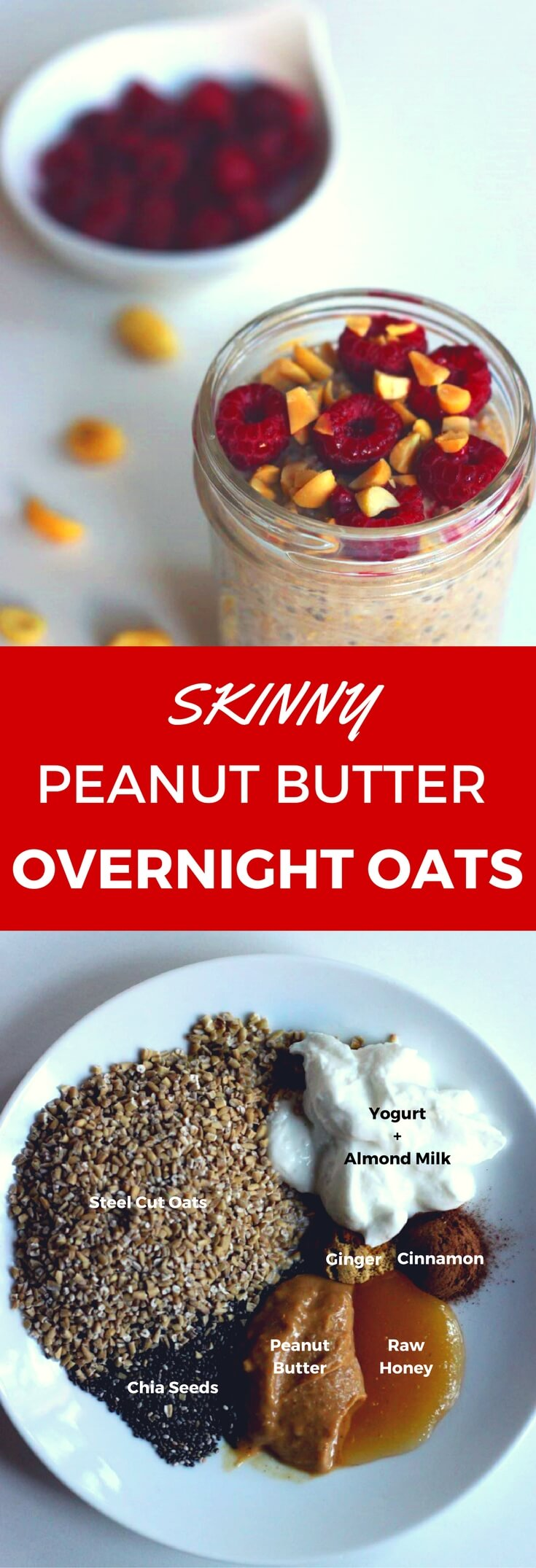 This healthy peanut butter overnight oats can be made in a jar for an easy and delicious grab-and-go breakfast or snack.  The recipe uses steel cut oats, almond milk, and is powered with high protein from the chia seeds, yogurt and peanut butter.  Cinnamon and ginger spices are added to boost metabolism and weightloss.