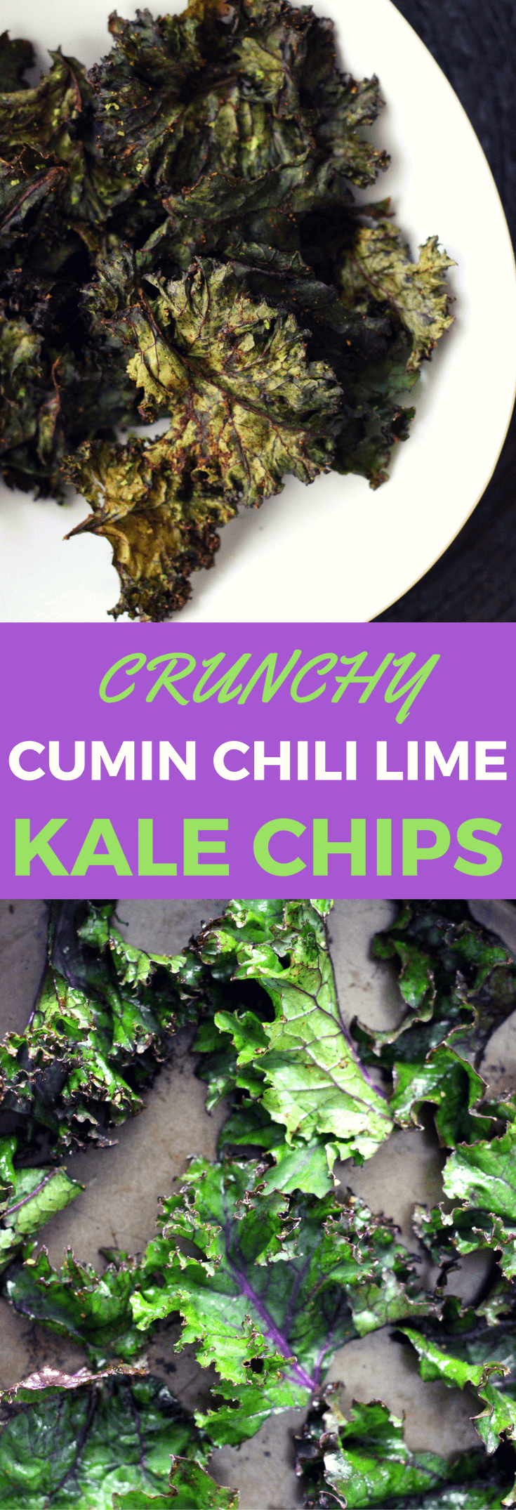 Easy healthy homemade baked kale chips recipe using fat burning spices - cumin, chili and lime. With step-by-step instruction on how to make the best kale chips with seasoning that provide crunchy, spicy flavors. Low calories snack, gluten free, paleo.