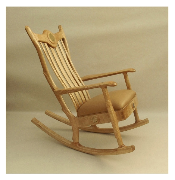 Great Custom Figured Maple Upholstered Seat Rocking Chair