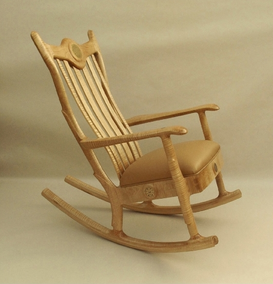 Custom Handmade Figured Maple Upholstered Seat Rocking Chair