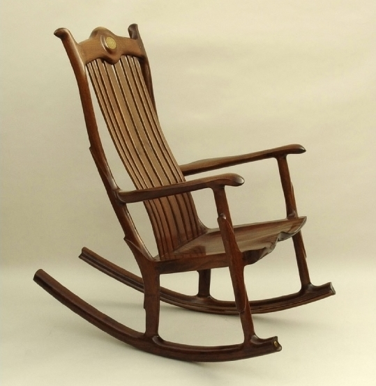Custom Handcrafted Black Walnut Wood Seat Rocking Chair
