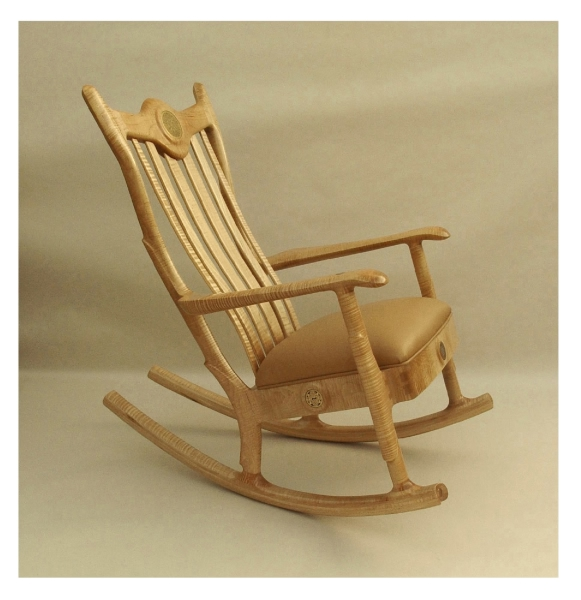 Figured Maple Upholstered Seat Rocking Chair Set