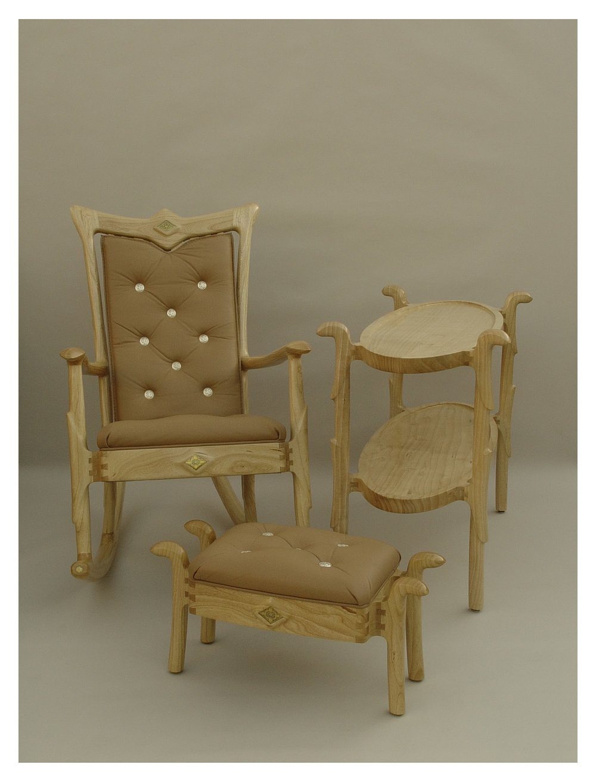 Ash Rocker Ottoman Oval Table