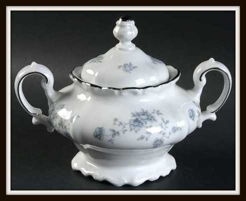 Blue Garland by Haviland Footed Sugar Bowl with Platinum Trim