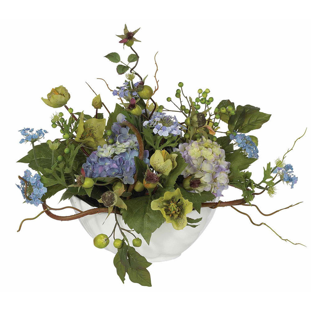 Hydrangea Centerpiece Silk Flower Arrangement by Nearly Natural