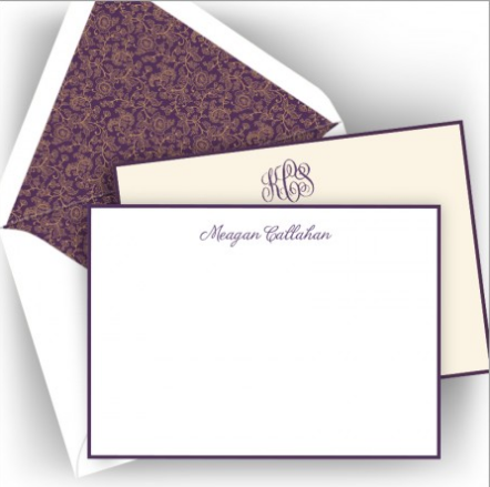 American Stationery Letterpress Plum Note Card