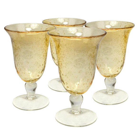 Footed Seed Glass Sweet Tea Goblets in Citrine