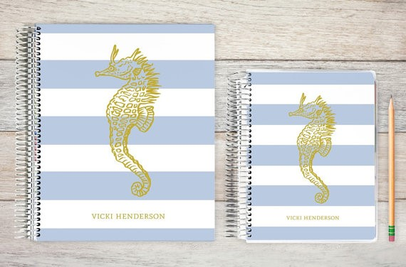 Personalized Daily Planner in Pale Blue Stripes and Gold Foil Seahorse by Purple Tribe
