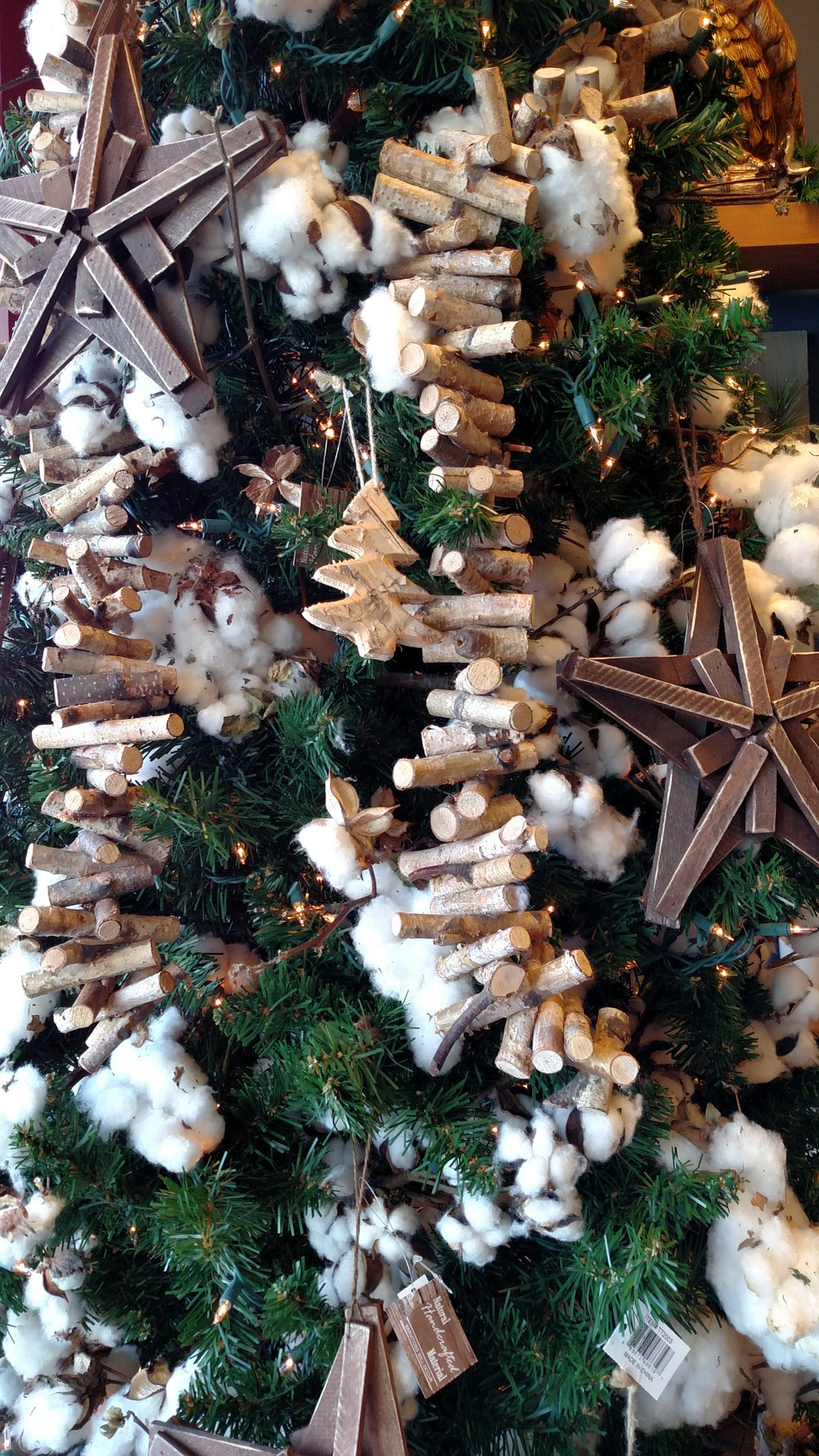 Handmade Ornaments and Rustic Elements on a Gorgeous Christmas Tree with Cotton Buds