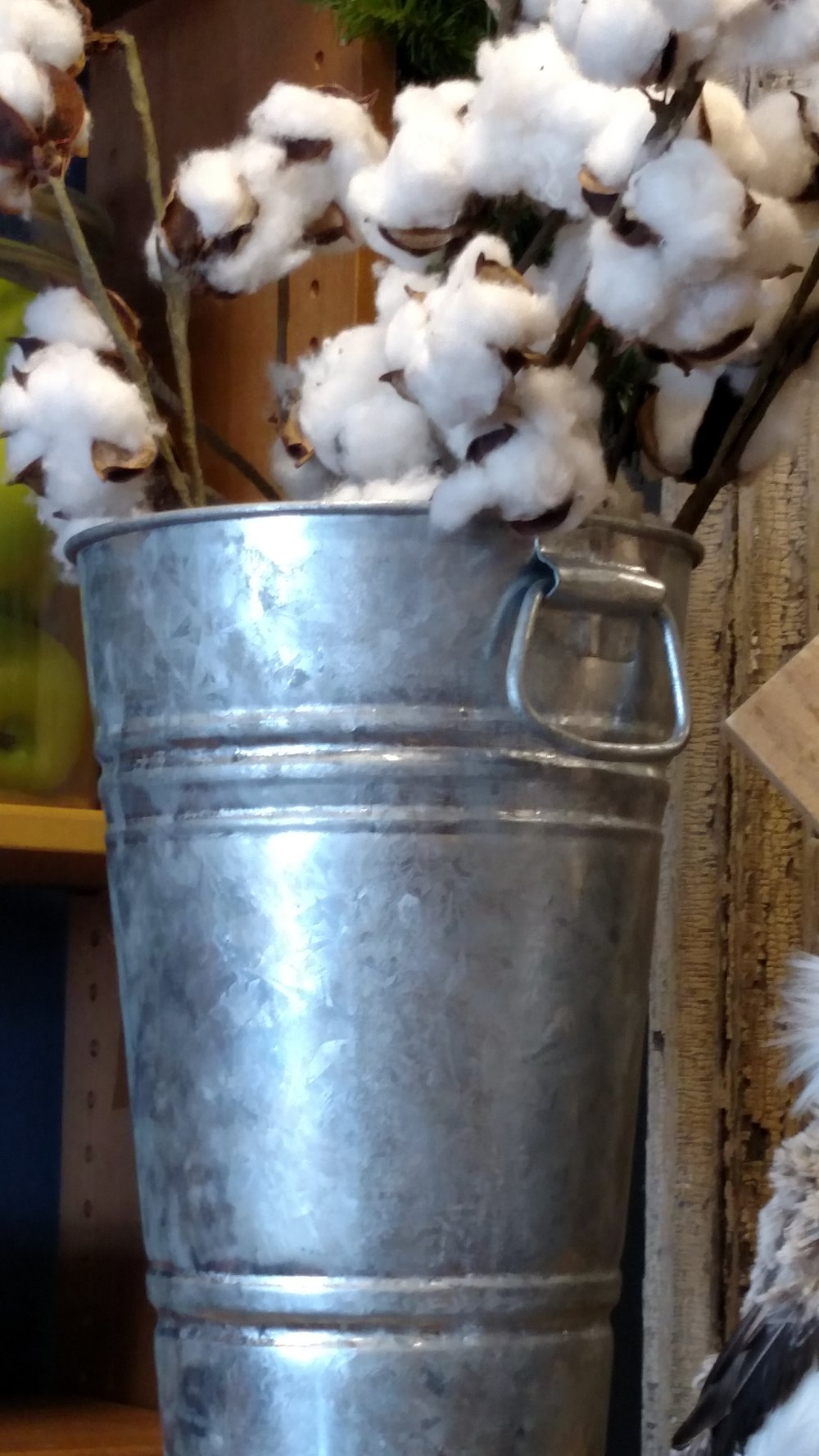 Pretty Galvanized Bucket Filled with Natural Cotton