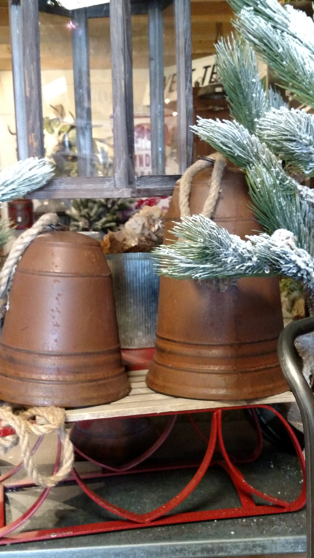 Large Hand Cast Bells and an Antique Sleigh