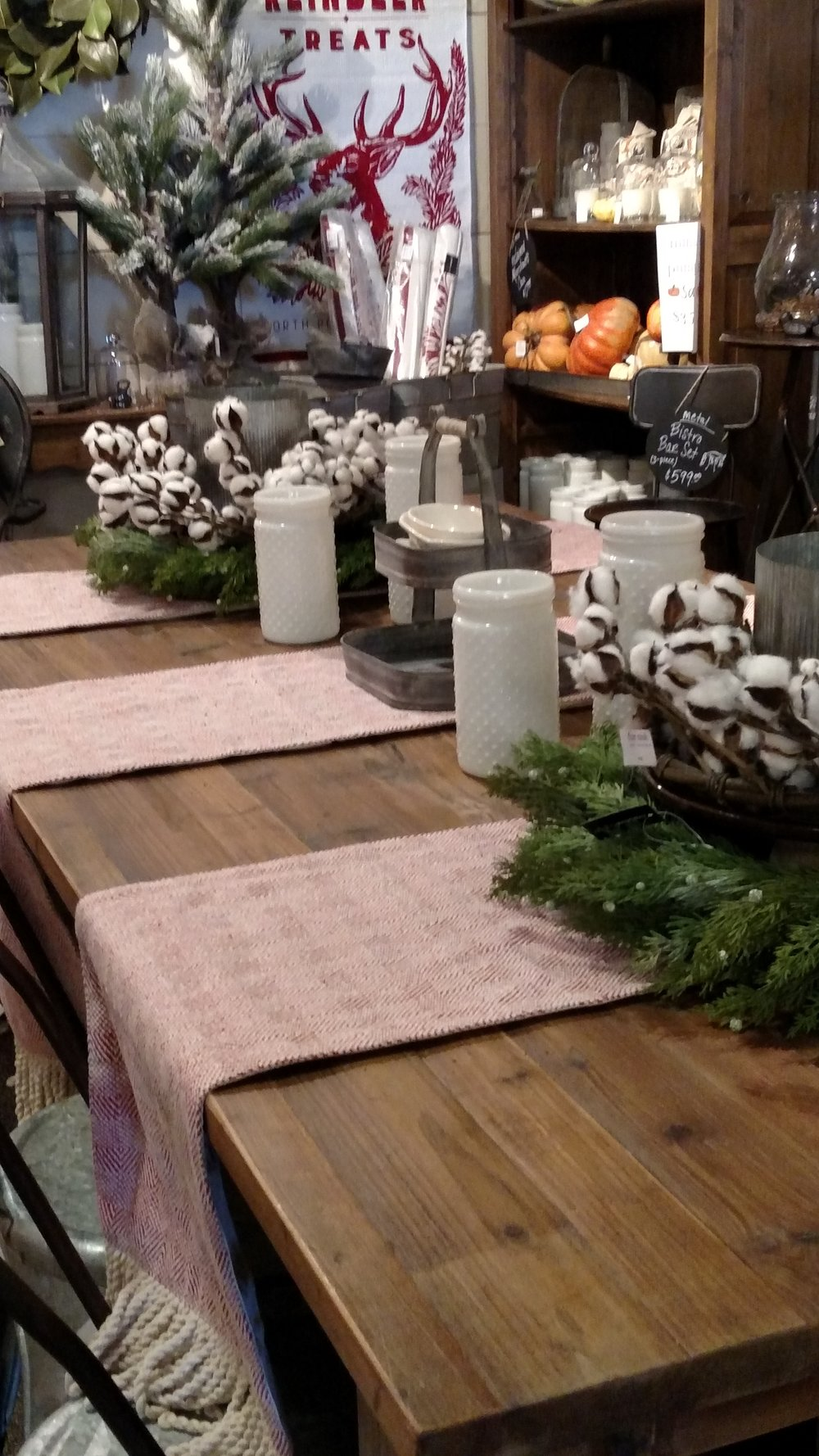 Gorgeous Hand Made Table set with Natural Greenery and Cotton