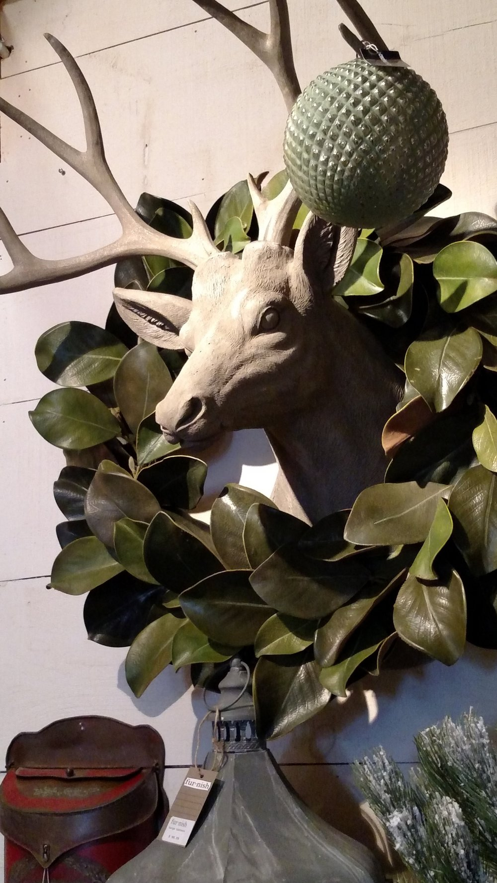 Faux Trophy Mount surrounded by a Magnolia Leaf Wreath
