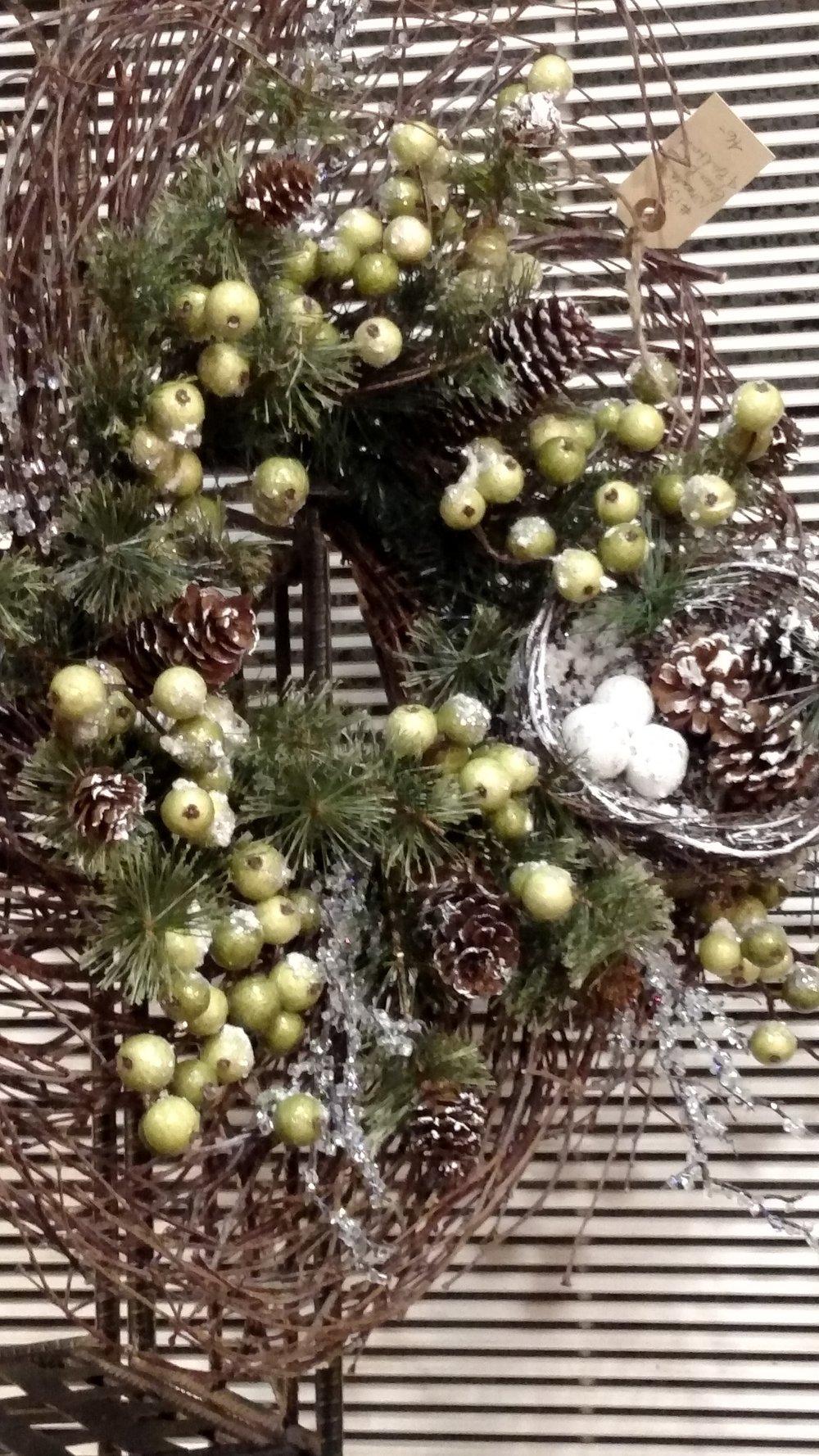 Pretty Twig, Apple, Pine Cone and Bird's Nest Wreath