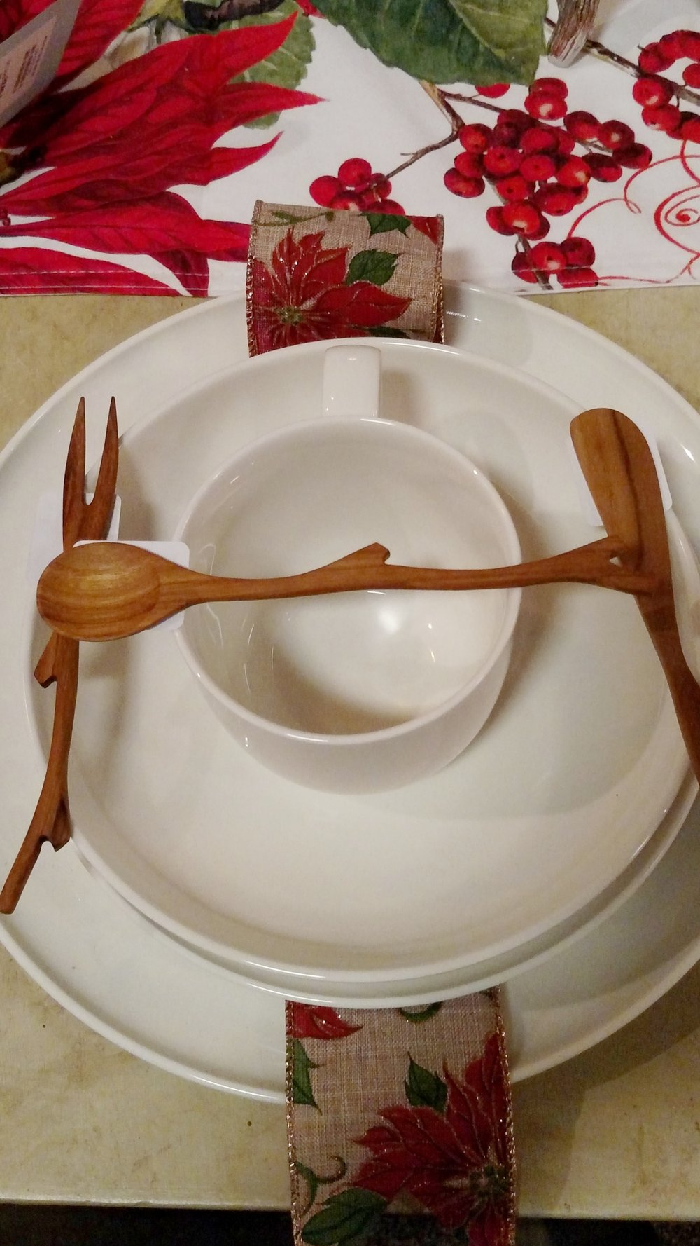 Uniquely beautiful Table Setting with Hand Made Natural Wood Utensils