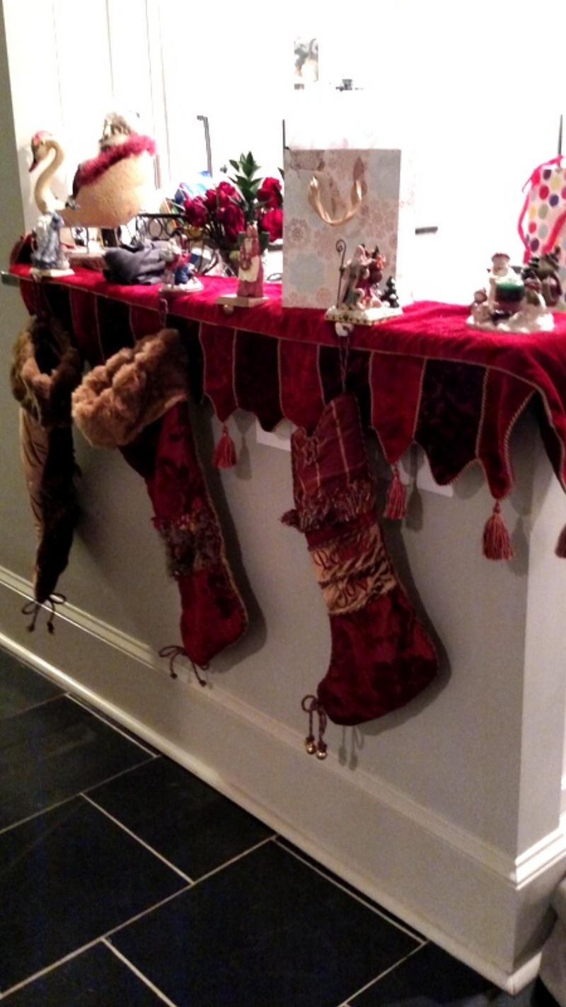 Kitchen ledge with Stockings and Decor
