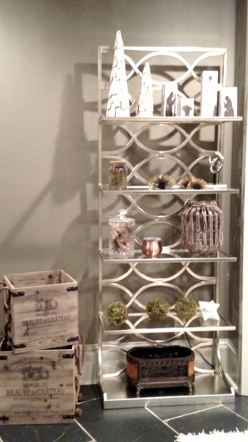 Pretty chrome and glass display shelves with Christmas goodies and fabulous Wine Crates