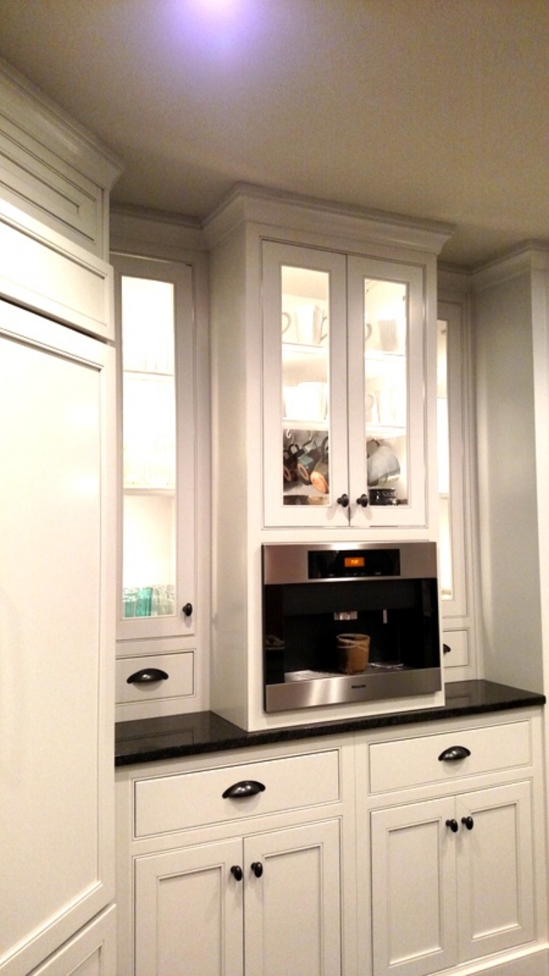 Glass-front Kitchen Cabinets and Built-in Coffee Station