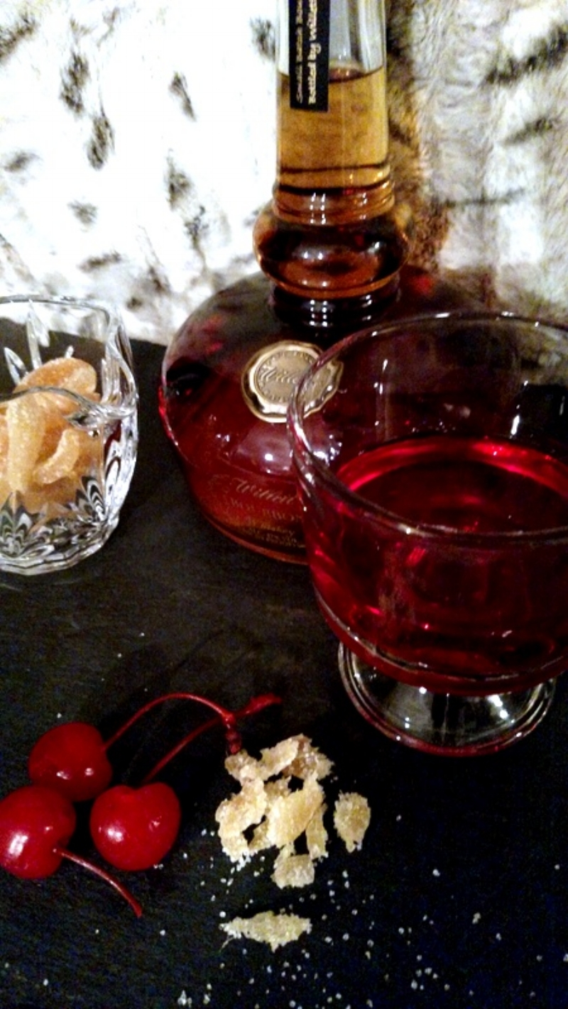 Willet's Straight Kentucky Bourbon Small Batch, Maraschino Cherry Brown Sugar Simple Syrup, Tipsy Cherries, Crushed Candied Ginger