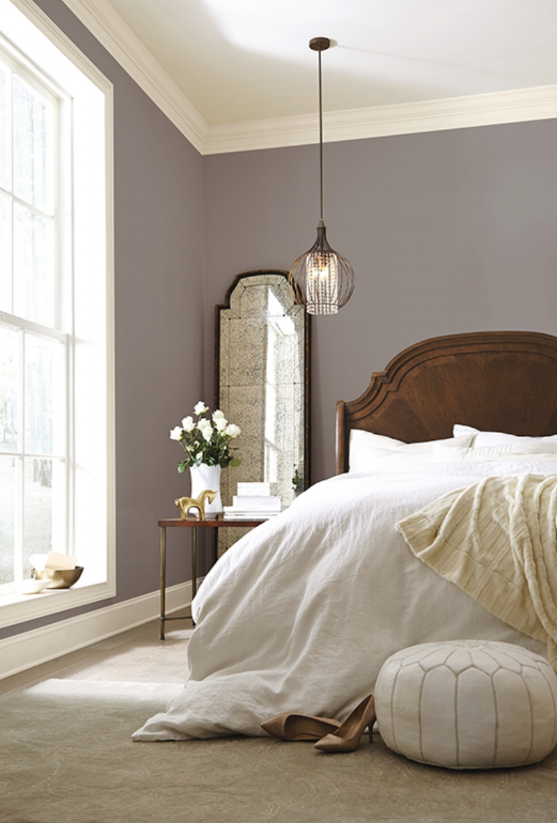 Poised Taupe in a Gorgeous Traditional Bedroom via Sherwin Williams