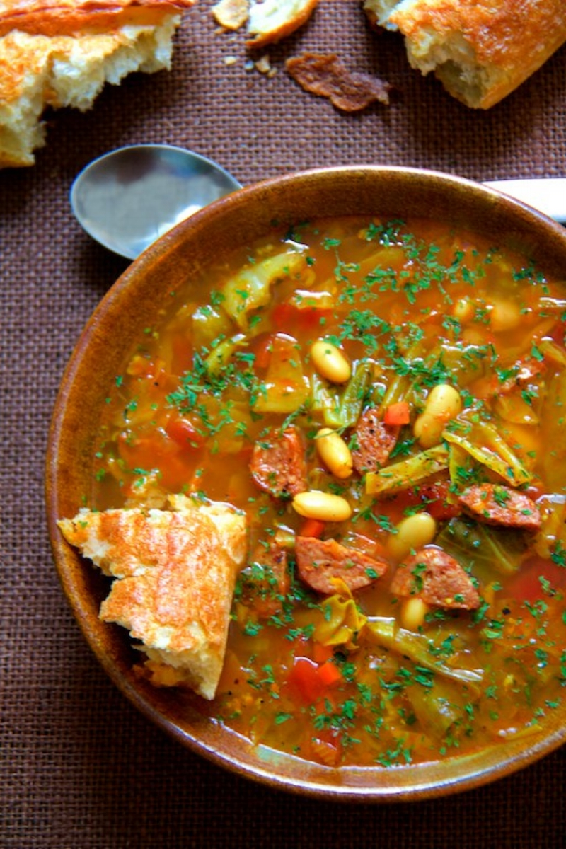 Farmhouse Cabbage Soup with Cannellini Beans and Kielbasa from fromachefskitchen.com