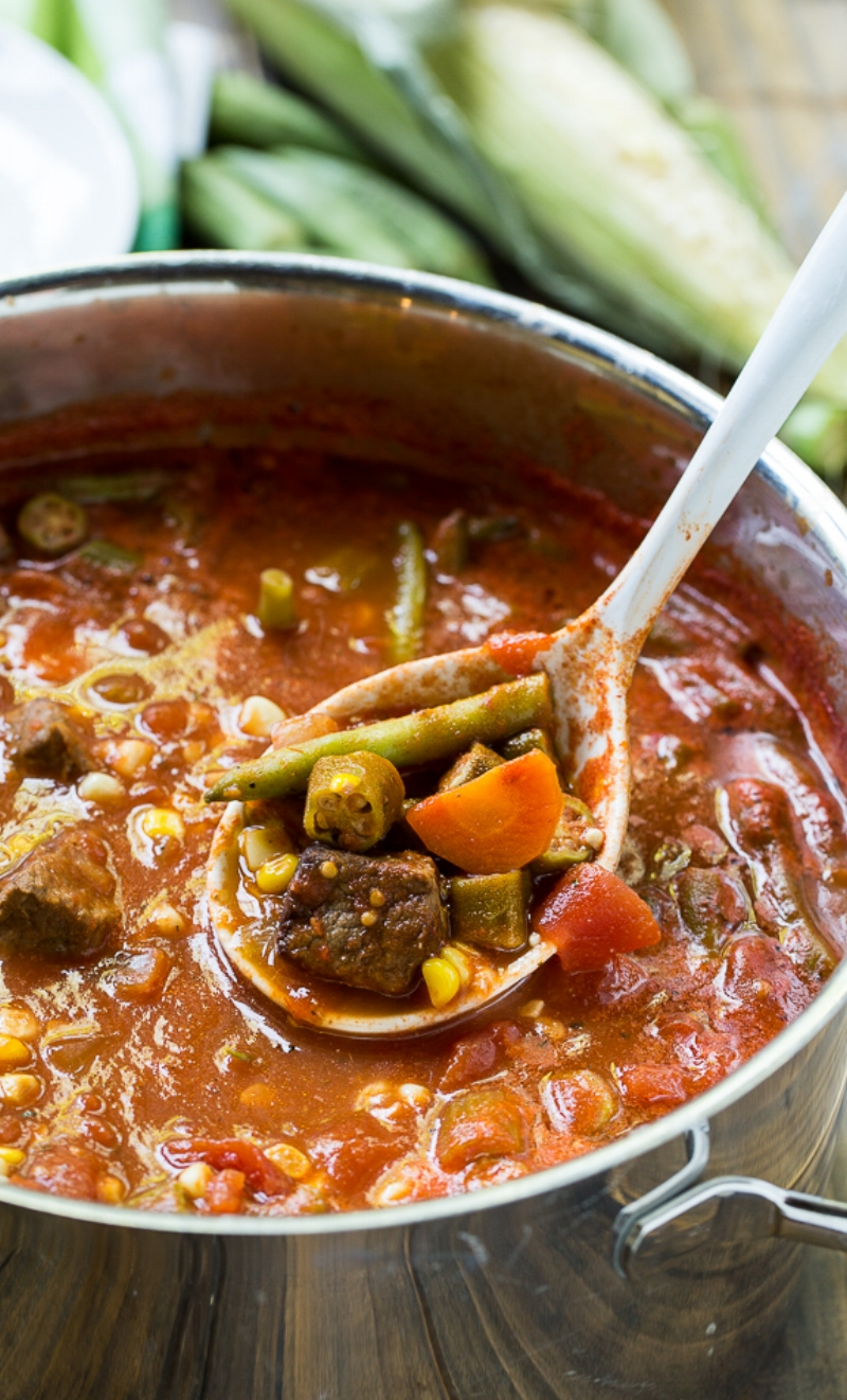 Loaded Vegetable Beef Soup from spicysouthernkitchen.com