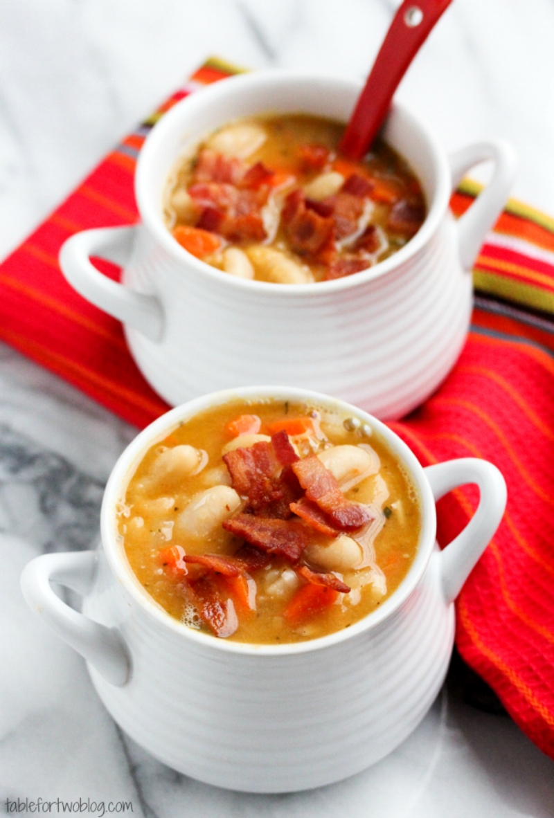 Creamy White Bean and Bacon Soup from tablefortwoblog.com