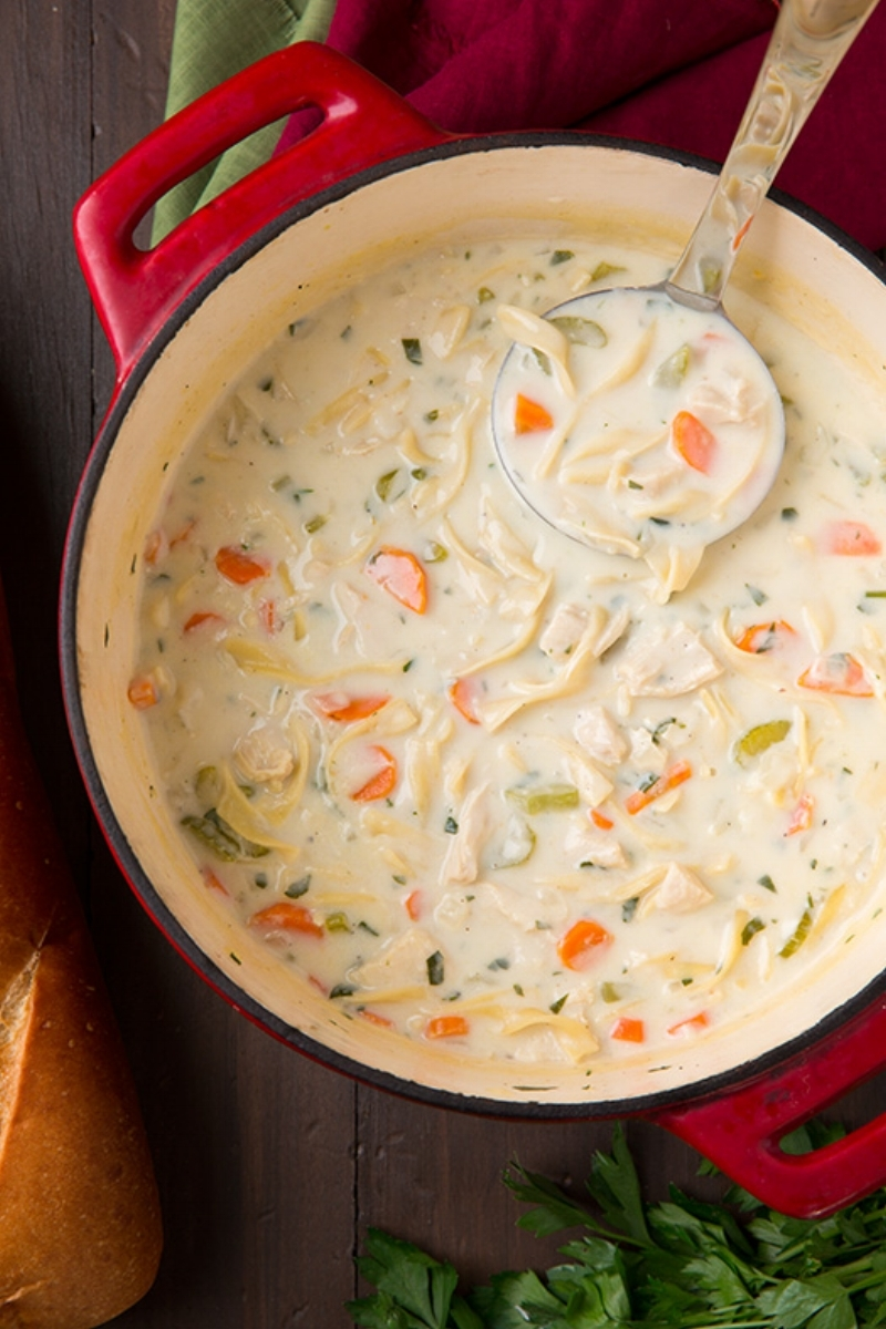 Creamy Chicken Noodle Soup from cookingclassy.com