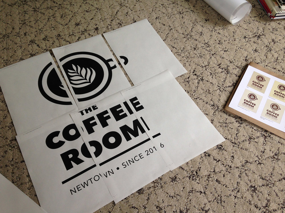 Roughly proofing The Coffee Room signage on location eliminated post-production surprises.